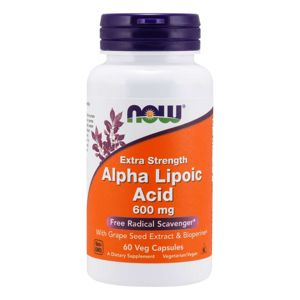 NOW® Foods NOW Alpha Lipoic Acid (Kyselina Alfa Lipoová) with Grape Seed Extract & Bioperine, 600  mg, 60 rostlinných kapslí