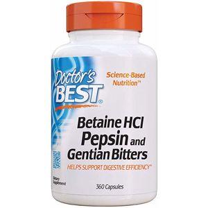 Doctor's Best Betaine HCl + Pepsin & Gentian Bitters (hořec), 360 kapslí