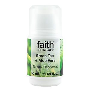 Faith in Nature, Kuličkový Krystal Deodorant - Bio Green Tea/Aloe Vera, 50ml