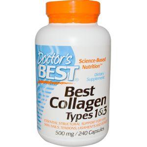 Doctor's Best Doctor's Best Kolagen prášek, Typ I & III s vitamínem C, 500 mg, 240 kapslí