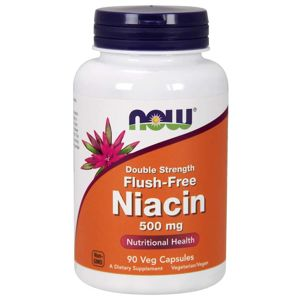 NOW® Foods NOW Niacin Flush-free, 500 mg (Double Strength), 90 rostlinných kapslí